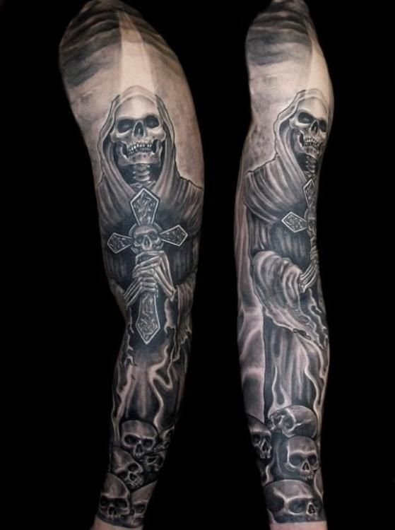 Grim Reaper Skull Sleeve Tattoo