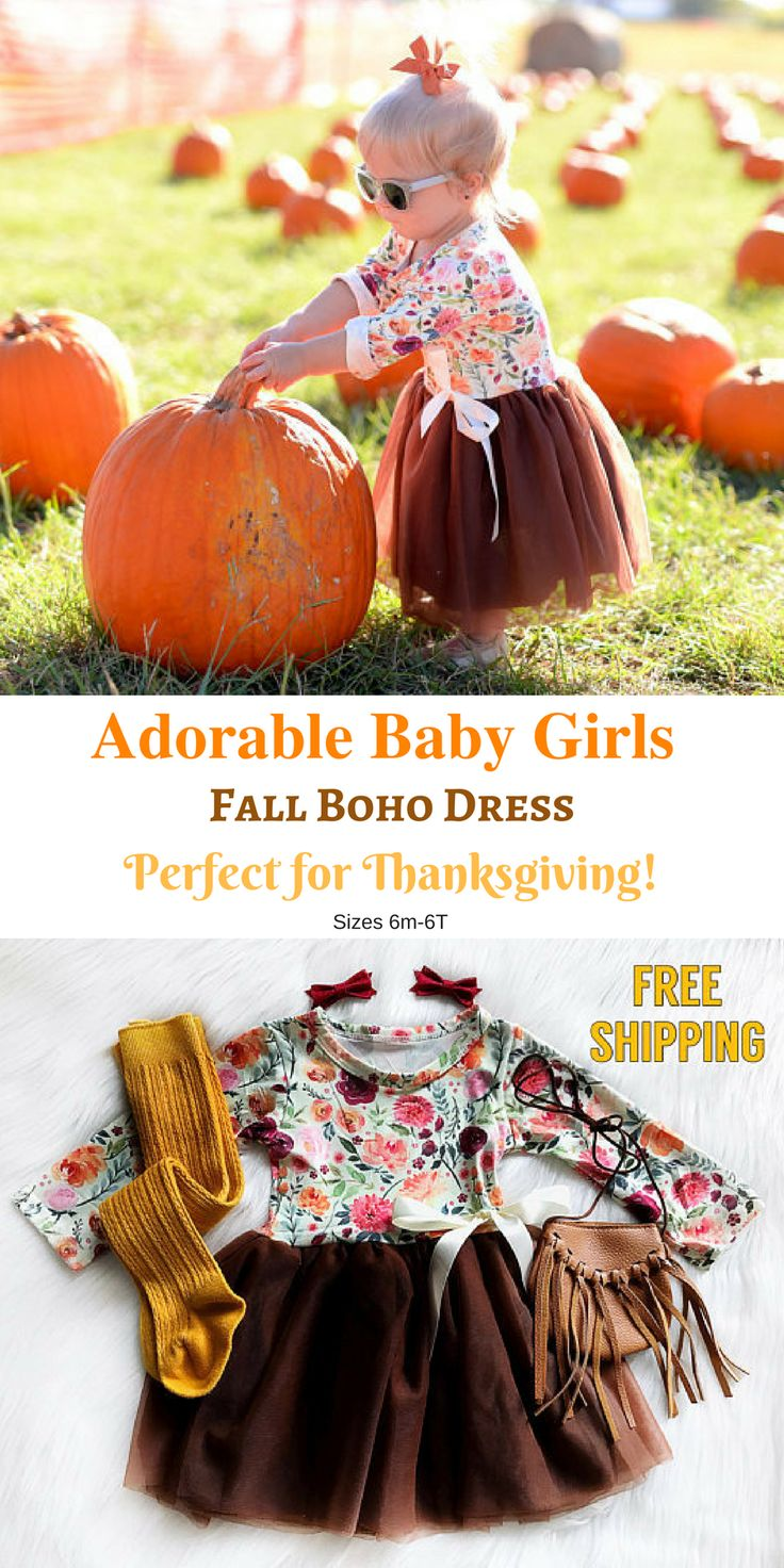 Cute, cute, cute! Girls Fall Dress Baby Girls Thanksgiving Dress Fall Birthday Dress Boho Clothes Pumpkin Patch Toddler Fall Dress Infant Thanksgiving Outfit. Sizes 6m-6T Free shipping #affiliate #babygirl #infantclothes #girlsfashion #thanksgivingideas # https://presentbaby.com