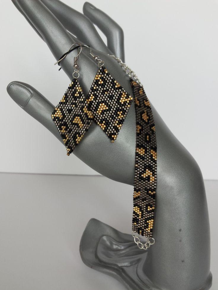 """Parure bracelet et boucles d'oreilles en perles Miyuki """"léopard"""""""