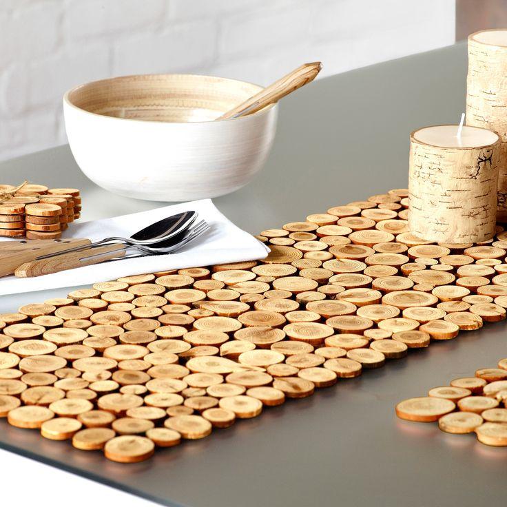 Mini Wood Slices Table Runner | Simons #maisonsimons #chalet #rustic #wood