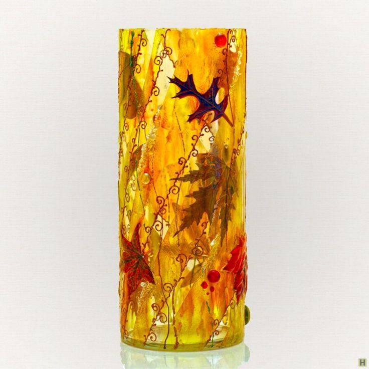 Ваза осенний вальс. объемный декор стекла. (на заказ) купить недорого в интернет…