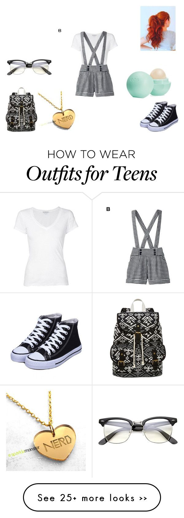 """""""Cute Nerd Outfit"""" by taeleeah2004 on Polyvore featuring James Perse, SM New York and Eos"""