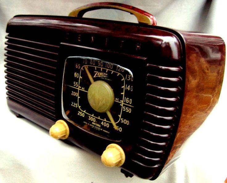 ZENITH Bakelite radio STUNNING Classic BLACK dial restored AM 6 tube m-6D51 1940  | eBay