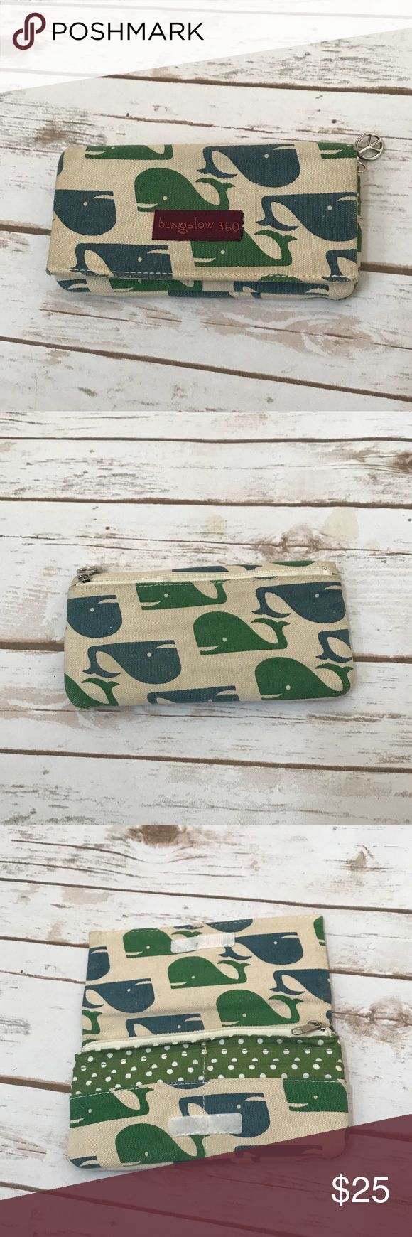Bungalow 360 Whale Wallet Blue/ green whale print wallet. Coin, cash and cards compartments. Peace symbol on the zipper. Bungalow 360 Bags Wallets