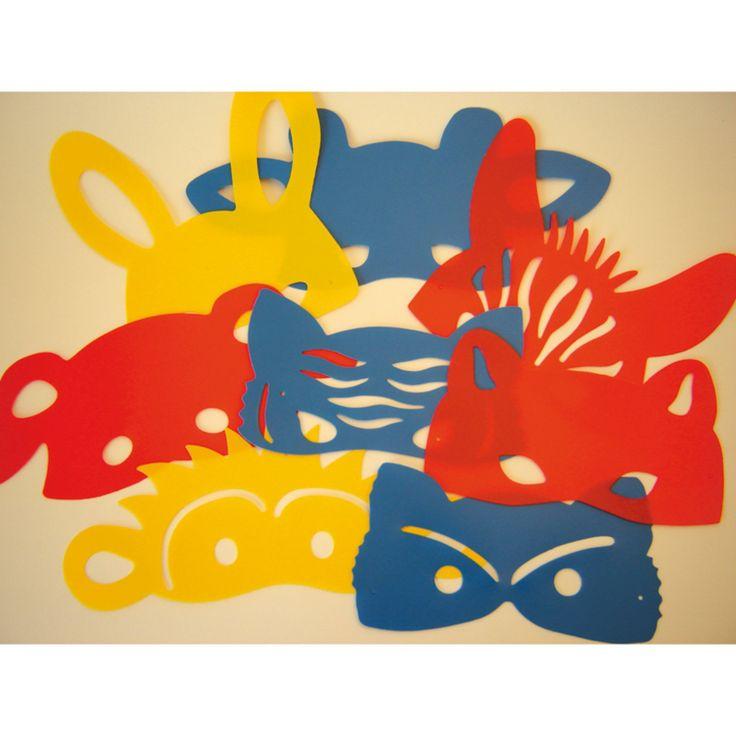 Set sjablonen vr 8 halve dierenmaskers Konijn, tijger, aap, hond, kat, zebra, vos, giraf