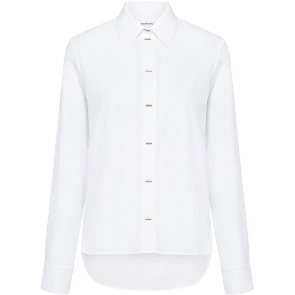 Carven - Long Sleeve Oxford Shirt ($203) ❤ liked on Polyvore featuring tops, shirts, white button down shirt, metal shirts, oxford shirt, white long sleeve top and button up shirts