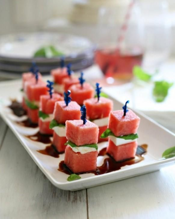 Watermelon Bites with basil, fresh mozzarell, & drizzled with balsamic vinegar. Oh my!!