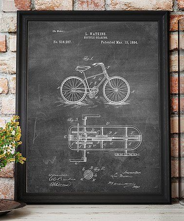 Loving this Bicycle Gearing 1894 Chalkboard Patent Art Print on #zulily! #zulilyfinds #patentartdecor