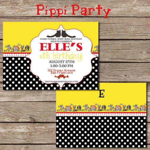 Pippi Longstocking Invitation By Worldwideparty