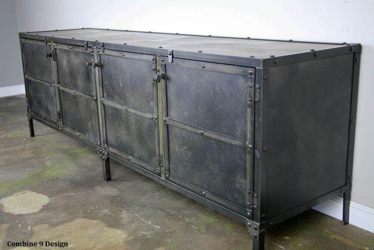 Buffet. Steel (reclaimed wood avail). Modern/Urban loft decor. (sideboard, credenza, TV Stand, media console) by leecowen on Etsy https://www.etsy.com/listing/117060455/buffet-steel-reclaimed-wood-avail