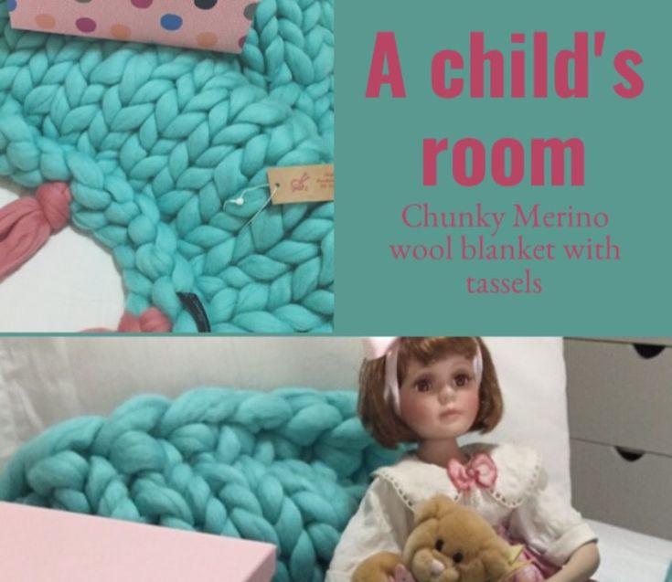 @chunkyknitstyle #chunkymerinowoolblankets #nurseryroom #littlegirlsroom #chunkyknitblanket #merinowool
