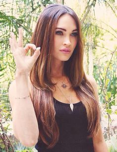 Megan Fox Hair Inspiration - Brown with lighter streaks