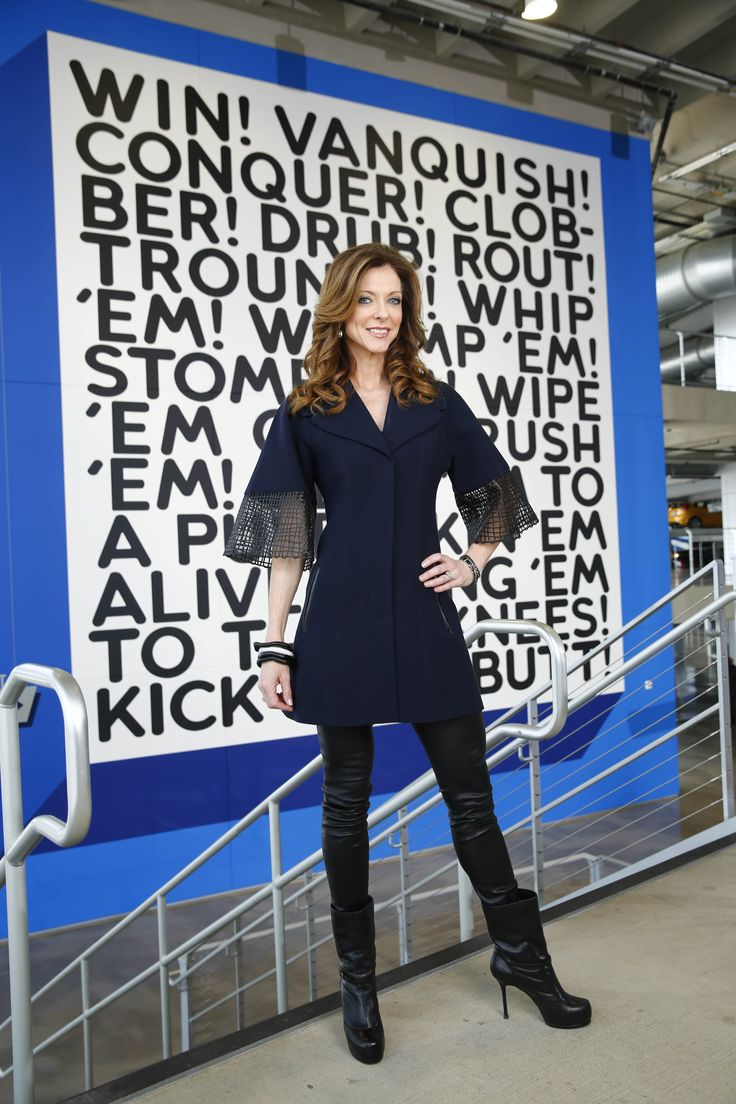 Gene Jones, wife of Dallas Cowboys owner Jerry Jones, and her daughter Charlotte Jones Anderson are photographed with Win!, a wall painting by artist Mel Bochner and (Meet Me) At the Waterfall by artist Franz Ackermann at Cowboys Stadium, Monday, January 27, 2013, in Arlington, Texas.