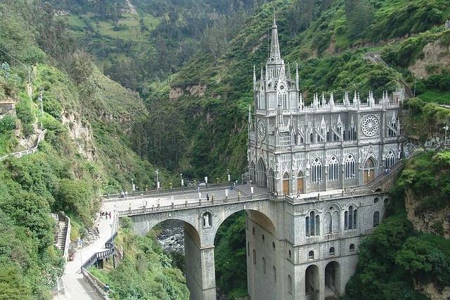El Santuario de las Lajas  (Sanctuary of the Virgin of Las Lajas), Ipiales, Colombia (neo-Gothic, 1916-1949) (Image Credit: Nick Leonard, CC-BY-NC-SA). More info: http://en.wikipedia.org/wiki/Las_Lajas_Sanctuary