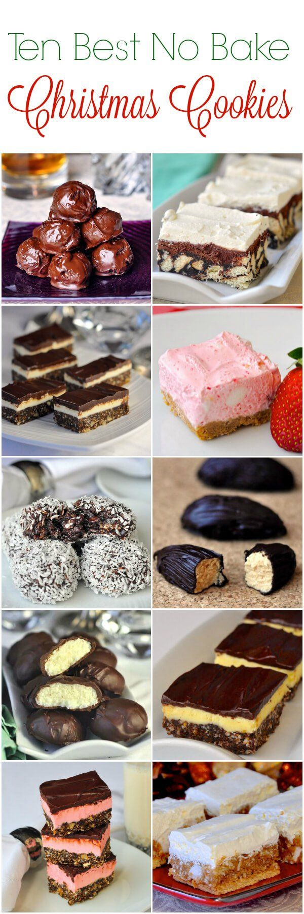 Ten of our best recipes for No Bake Christmas Cookies. Everything from Chocolate Mint Nanaimo Bars and Bourbon Balls to Strawberry Chiffon Squares and Winter White Cookies!