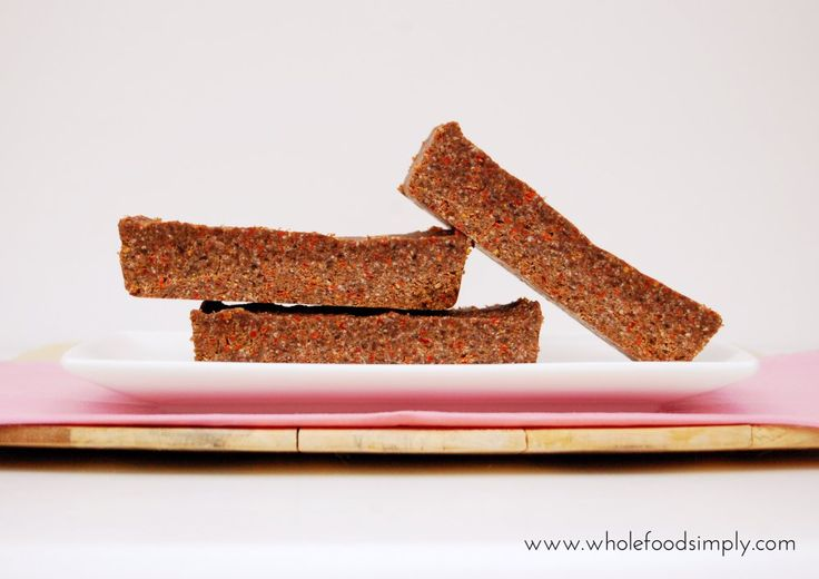 Chocolate and Goji Energy Bars. Simple, delicious and free from gluten, grains, dairy, egg and refined sugar. Enjoy.