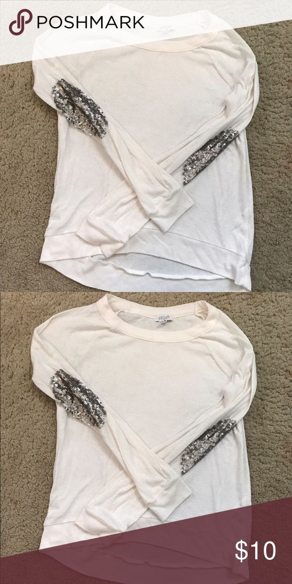 Delias Cream and Sequin Sweater Cream Sweater lightweight perfect for the late winter early Spring. Sequin Patch detailing at the elbows. For Juniors Girls Shirts & Tops Sweaters