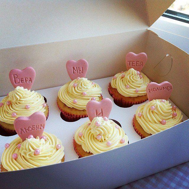 Cupcakes with a message. Pink heart.  Капкейки с посланием. Сердце