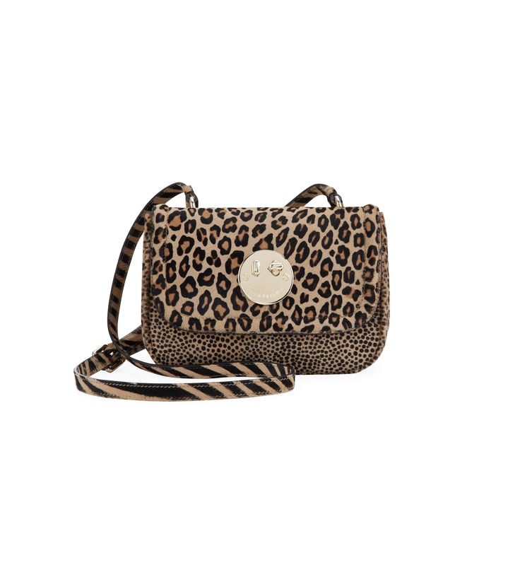 Mixed leopard print hair calf with pale gold hardware