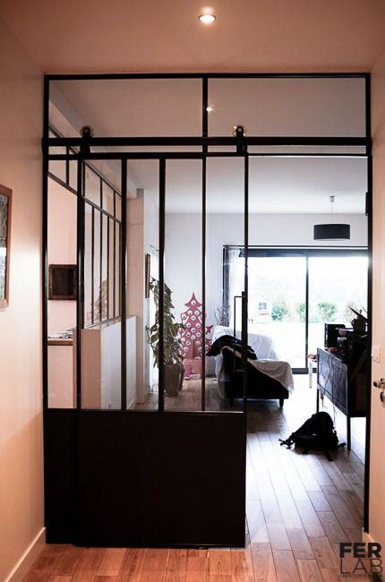 séparation vitrée avec porte coulissante Salons, Doors and Rustic - porte coulissante style atelier