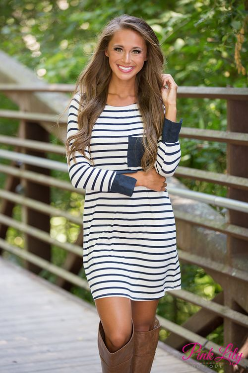 This sweet striped dress is the perfect way to cross between summer and fall!