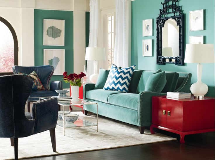 I like this color of teal turquoise living room accent wall for a real pop of color for Teal accent wall living room