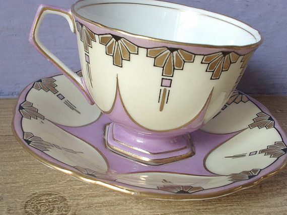 RARE antique art deco tea cup set, vintage 1930's Aynsley pink tea cup and saucer, pink yellow gold English tea set, bone china cup