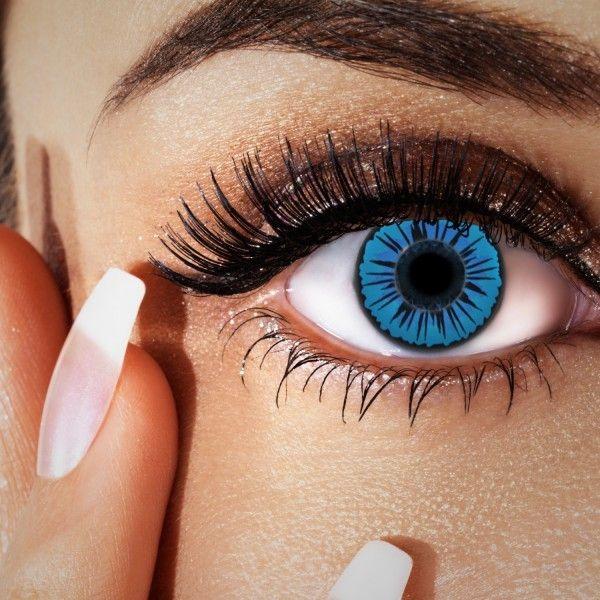 Blaue Kontaktlinsen, Strahlen-Motiv schwarz, Fun Linsen
