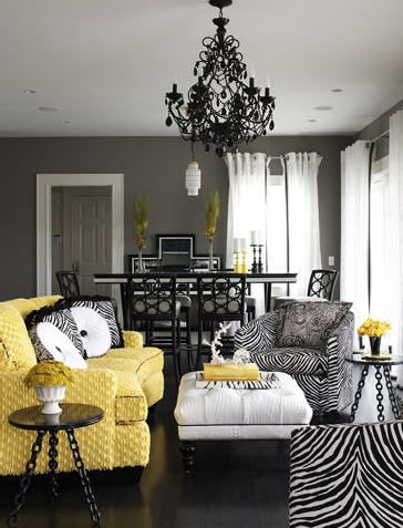 Fun black and white zebra patterns and gorgeous chandelier with a pop of yellow! | truelockequalstruelove.blogspot.comDecor, Living Rooms, Livingroom, Grey Wall, Black White, Colors Schemes, Zebras Prints, Yellow, Gray Wall