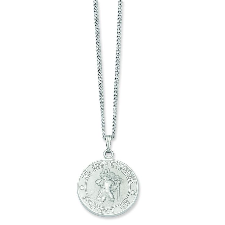 24in Rhodium-plated St. Christopher Medal Necklace