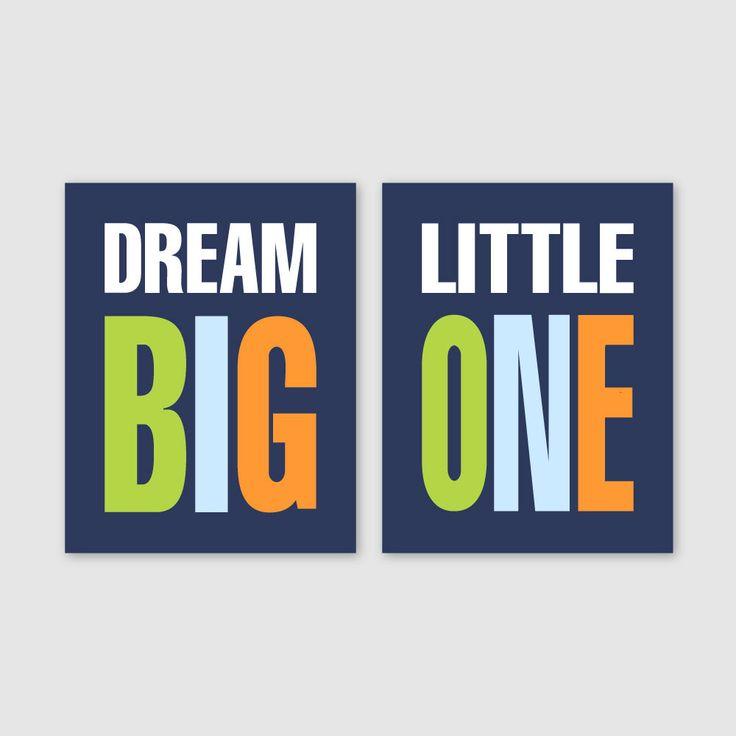 Baby Boy Nursery Art // Boy Nursery Decor Dream Big Little One Art Prints Boy Bedroom Art Boy Bedroom Decor // Lime Green Navy Blue Orange Pin now to view later