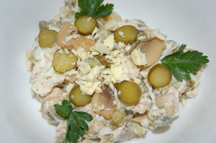 Салат картофель грибы соленый огурец