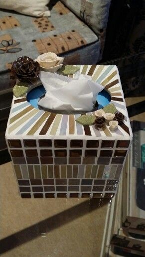 Square tissue box holder to match the round mirror