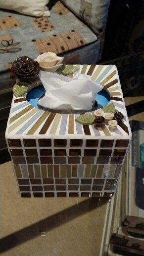 Square tissue box holder to match the round mirror