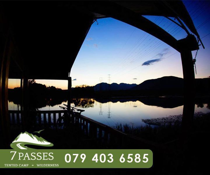 As another day comes to a near at 7 Passes, watch the beautiful sunset behind the Garden Route mountain range while enjoying your stay. Call us to book your stay: 079 403 6585. #Accommodation #Wilderness