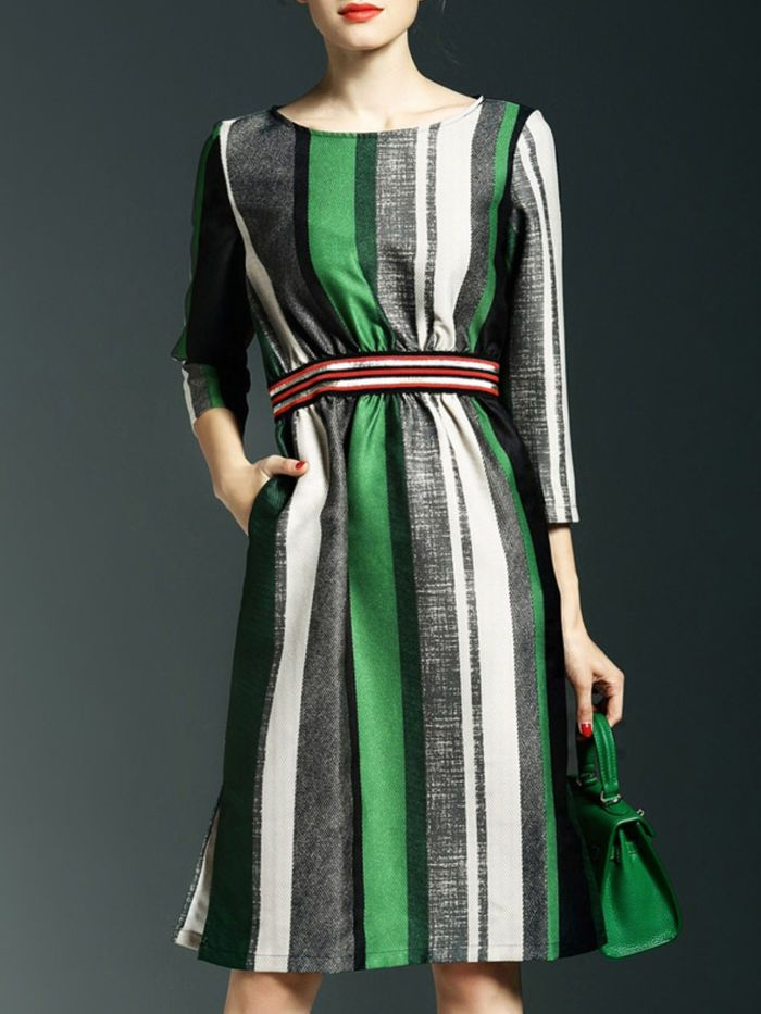 Pockets Stripe Midi Dress