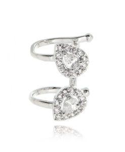 piercing da moda com zirconais cristais e banho de rodio semi joias finas