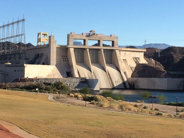 The Davis Dam viewed from the banks of the Nevada side of the Colorado River - you cross this dam at mile 10, into Arizona and another time zone!  You go BACK in TIME!