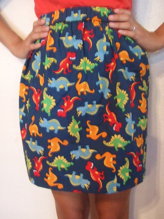 Dinosaur print skirt! loove! if i was a preschool/kindergarden teacher i would totally wear this!