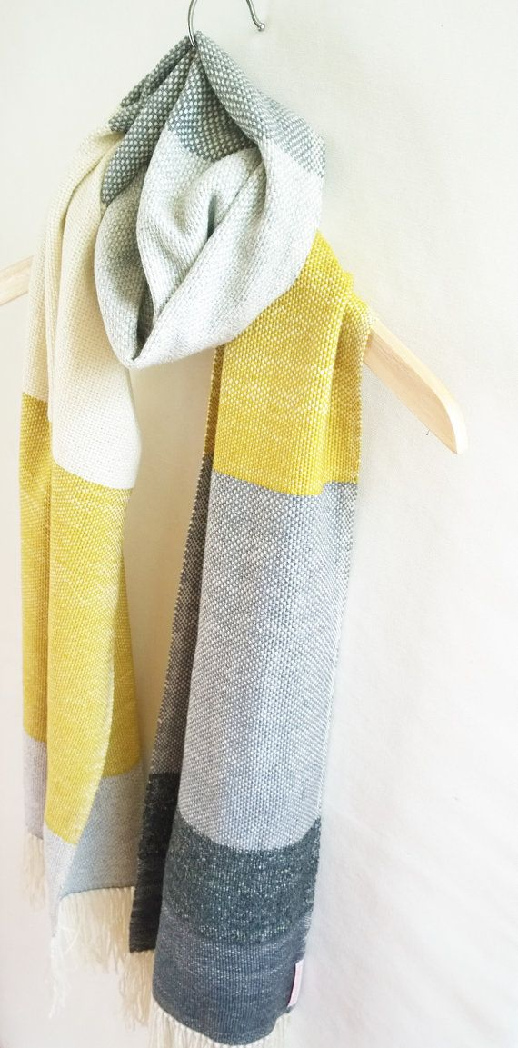 Cashmere Long Scarf Yellow Color Block in Gray by Handarbete