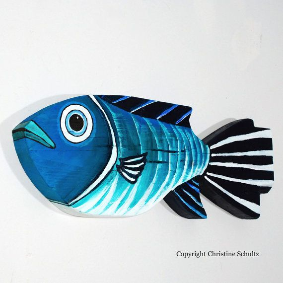 wood fish art | Painted Wood Fish Decor Green and Blue Folk Art by TaylorArts