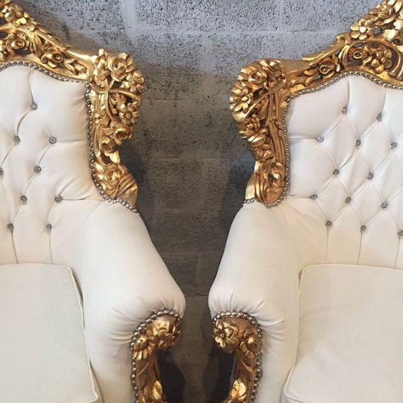 Rococo trono Silla sofá cuero blanco con penacho antiguo