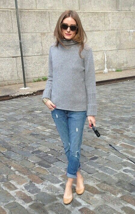 Cat Eye Sunglasses // Gray Turtleneck Sweater / Ripped Boyfriend Jeans / Tan Ballet Flats