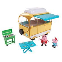 Travel around with Peppa Pig and her family with the Campervan! The play set features lots of accessories for camping fun. Withdraw the awning and prepare for Peppa Pig's BBQ. Includes Peppa and Daddy Pig in their fun holiday outfits. This Campervan is equipped to jump start family fun!