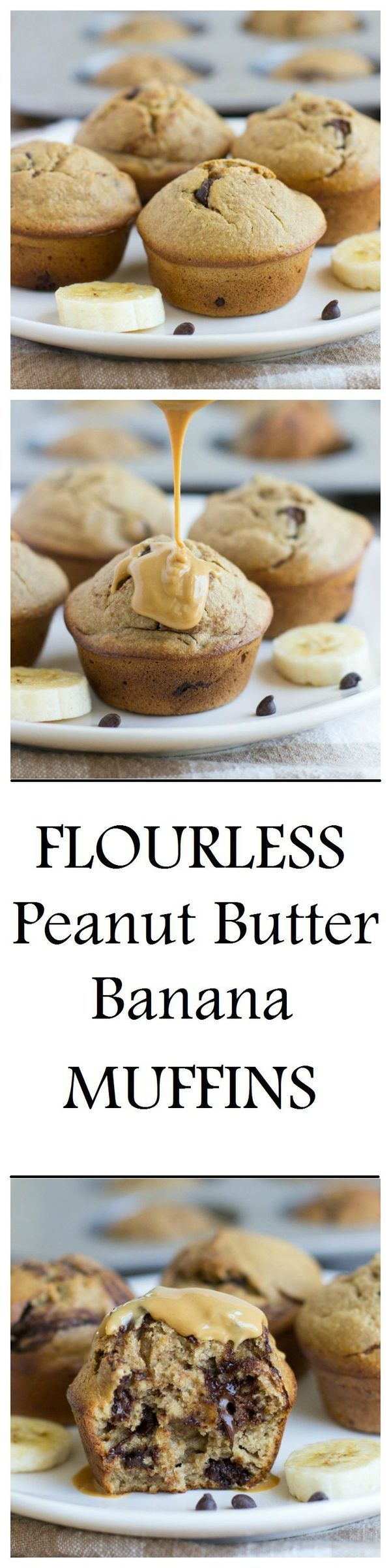 Flourless peanut butter banana muffins that are dairy-free, gluten-free, and refined sugar-free. One muffin has as much protein as an egg + they're so moist and delicious, you would never guess that they're healthy!