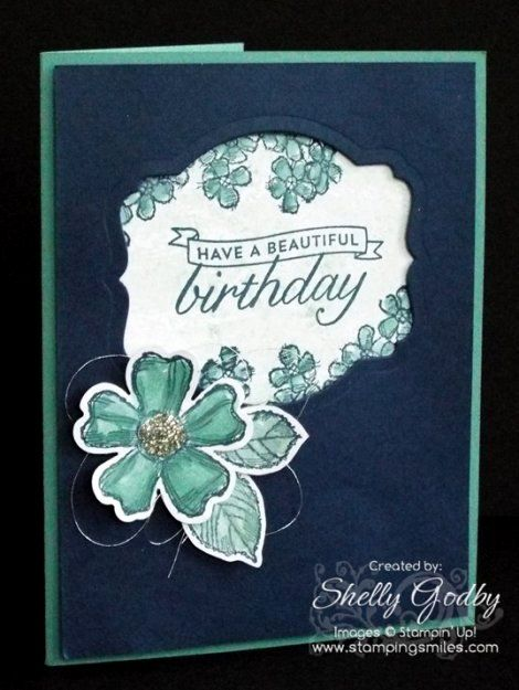Stampin' Up! Birthday Blossoms  and Watercolor Wash Card