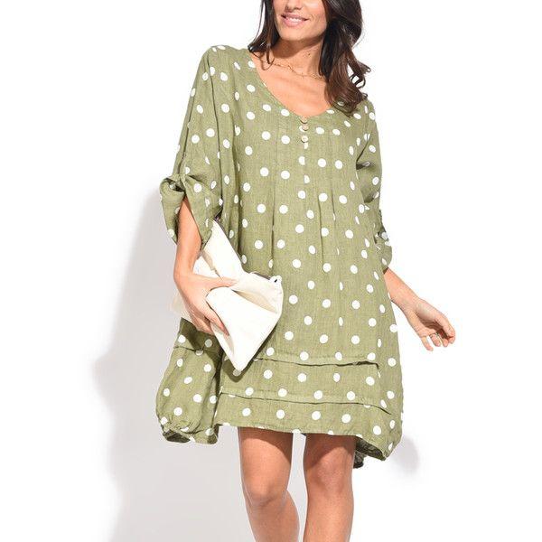 Couleur Lin Green Polka Dot Roll Tab-Sleeve Linen Shift Dress (165 ...