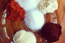 Carolina rub for pork •2 tablespoons salt •2 tablespoons sugar •2 tablespoons brown sugar •2 tablespoons ground cumin •2 tablespoons chili powder •2 tablespoons freshly ground black pepper •1 tablespoon cayenne pepper •1/4 cup paprika Rub on a trimmed pork roast, wrap in saran and put in fridge overnight. In morning, put roast in crockpot, pour sauce over top (whisk together 1 bottle Sweet Baby Rays, 1/4 cup apple cider vinegar, 1/4 cup Worcestershire, 1/4 cup honey) and cook on low 8 hours