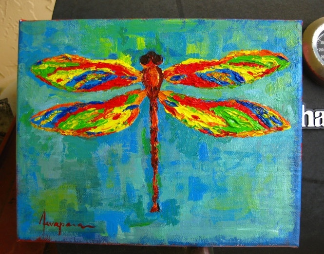 Dragonfly art art room decor acrylic painting home for Dragonfly mural