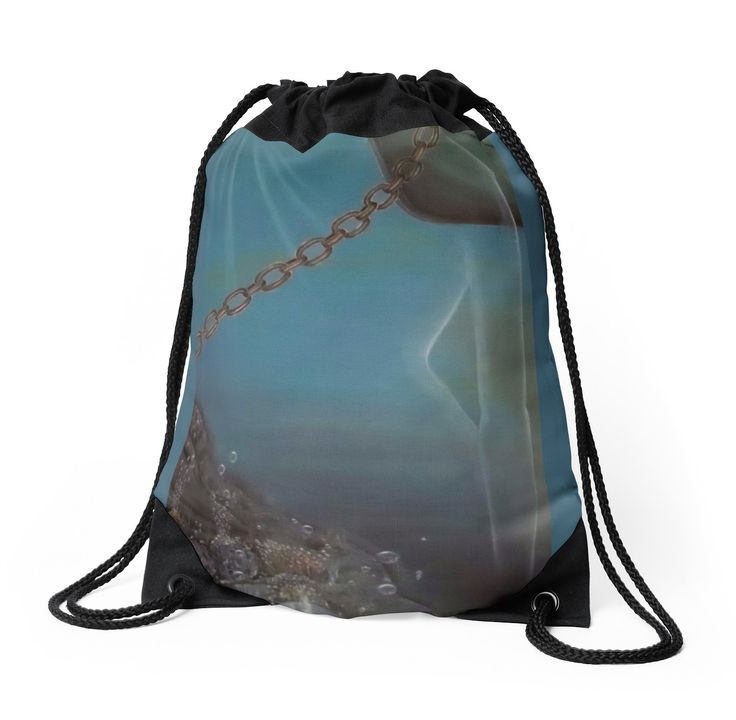Drawstring Bag,  blue,cool,beautiful,fancy,unique,trendy,artistic,awesome,fahionable,unusual,accessories,for,sale,design,items,products,gifts,presents,ideas,blue,turquoise,chain,redbubble